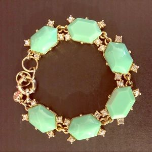 JCrew Aqua and Crystal Gem Bracelet